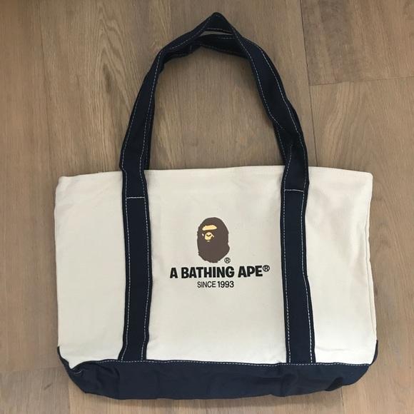 Bape Handbags - A Bathing Ape Natural Canvas Tote Bag a9e392647f544